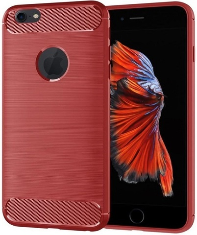 Чехол iPhone 6 Plus (iPhone 6S Plus) цвет Red (красный), серия Carbon, Caseport