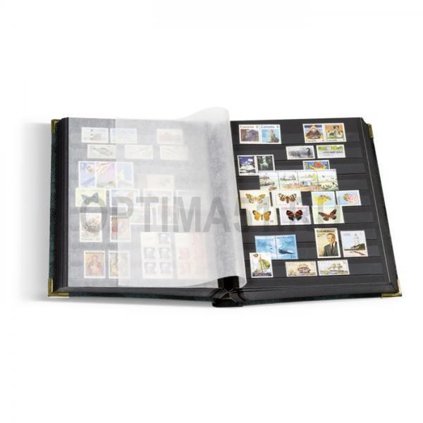 Альбом для марок, на 64 стр. по 9 прозрачных полосок на черном фоне, формат А4, тиснение под кожу рептилии, уголки. Без шубера. Промежуточные листы из пергамина