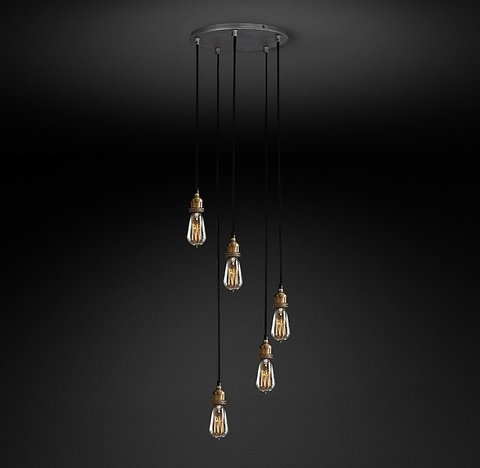 Подвесной светильник копия 20th C. Factory Filament Bare Bulb Round Pendant by Restoration Hardware