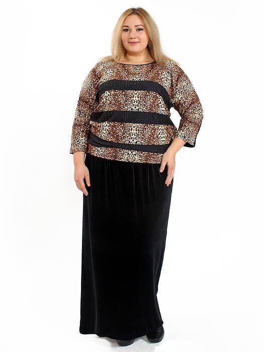 Велюровая длинная юбка YSL