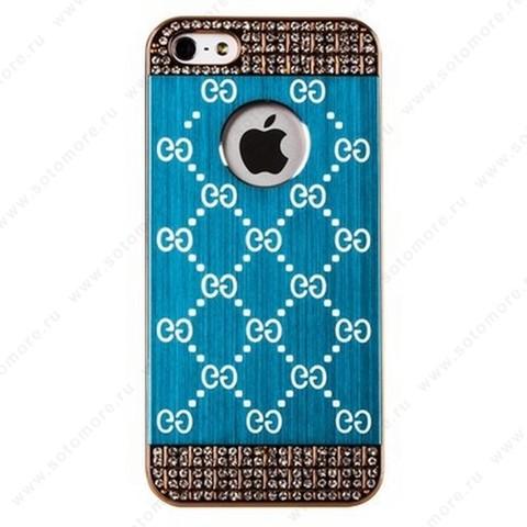 Накладка GUCCI металлическая для iPhone SE/ 5s/ 5C/ 5 золото голубая