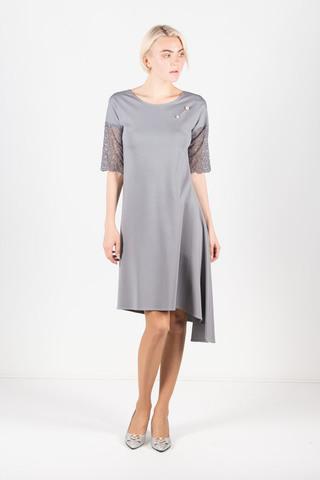 Фото однотонное асимметричное платье с кружевом на рукавах - Платье З429а-821 (1)
