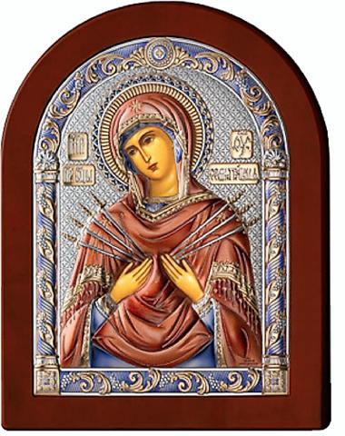 Серебряная икона Богоматерь Семистрельная (цветной лак, повышенное качество!)