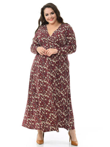 Длинное платье Винный принт