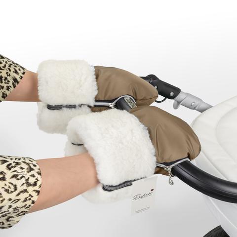 Муфта-рукавички для коляски Esspero Double White (Натуральная шерсть)