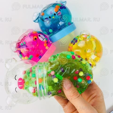 Слаймы головы животных шарики внутри (набор 4 шт.)