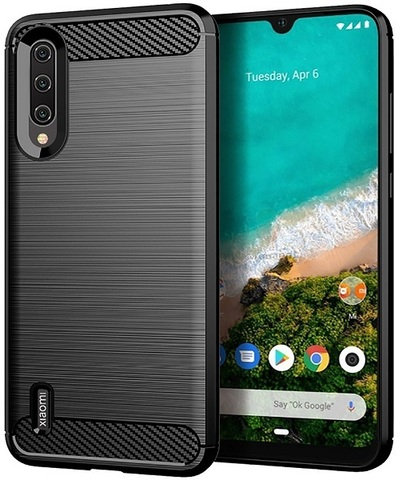 Чехол Xiaomi Mi A3 (CC9E) цвет Black (черный), серия Carbon, Caseport