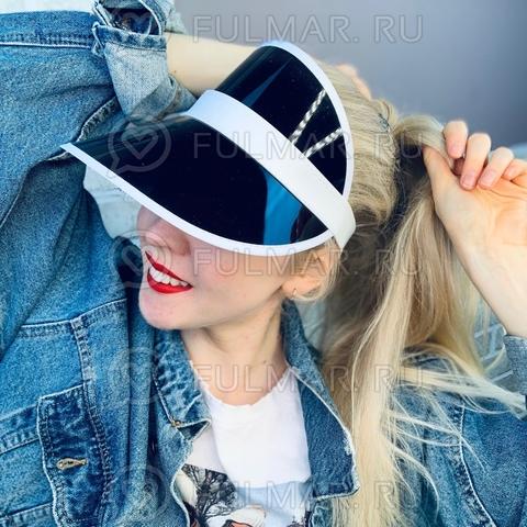 Козырёк от солнца на голову пластиковый прозрачный Чёрный