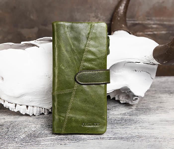 WL252-4 Клатч из натуральной кожи зеленого цвета