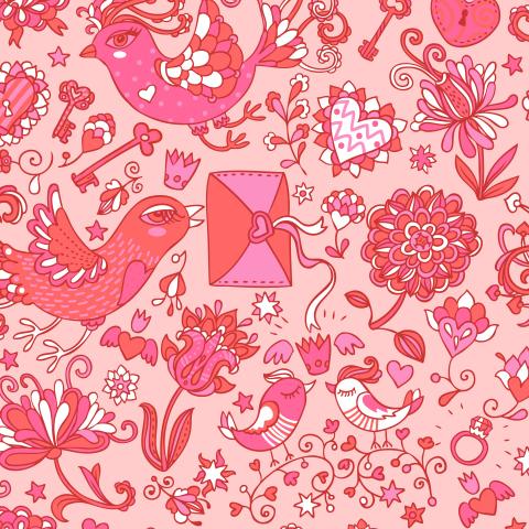 Влюбленные птички розовые на розовом