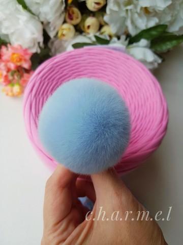 Помпоны, кролик 5-6 см, цвет Голубой, 2 шт