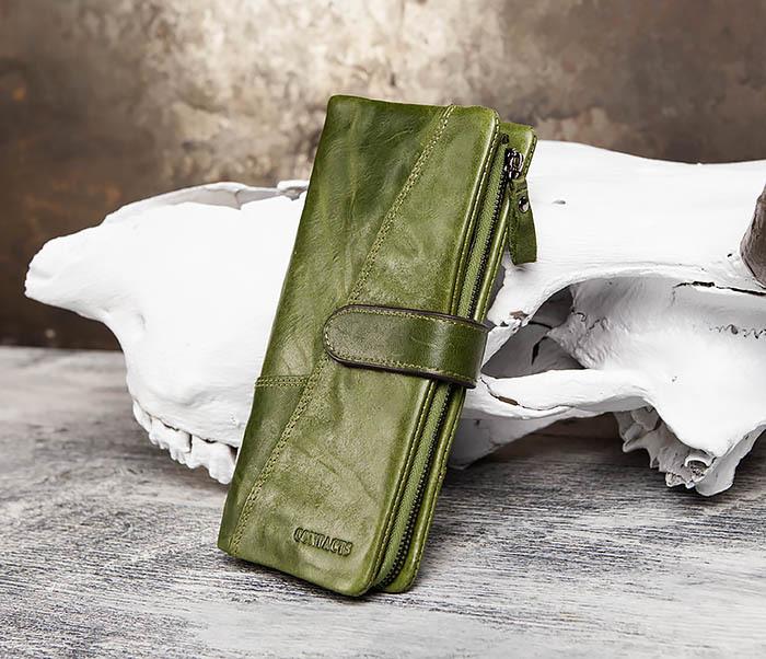WL252-4 Клатч из натуральной кожи зеленого цвета фото 03