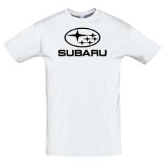 Футболка с принтом Субару (Subaru) белая 10