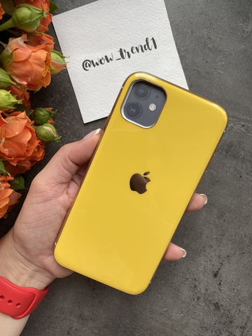 Чехол Iphone 11 Glass Silicone Case Logo /yellow/
