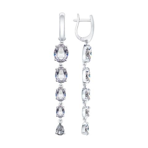 94022079 - Серьги длинные из серебра с фианитами