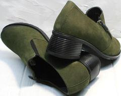 Кожаные туфли женские на невысоком каблуке 5 см осень весна Miss Rozella 503-08 Khaki.