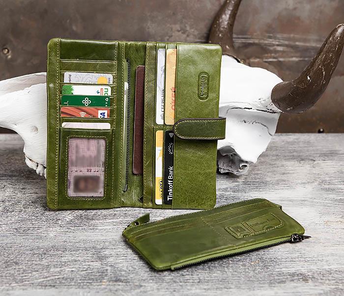 WL252-4 Клатч из натуральной кожи зеленого цвета фото 08
