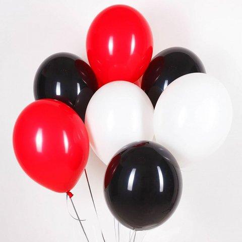 Воздушные шары с гелием Черно-красно-белые