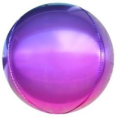 Шар (24''/61 см) Сфера 3D, Фиолетовый/Фуше, Градиент, 1 шт.