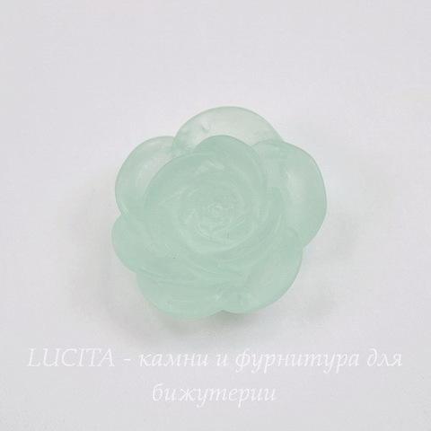 """Кабошон акриловый """"Камелия"""", цвет - бледно-ментоловый, 20 мм"""