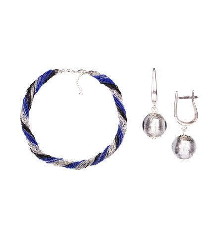 Комплект украшений черно-синий (серьги-бусины, ожерелье из бисера 24 нити)