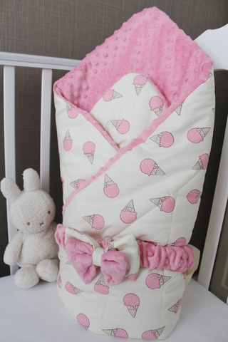 Одеяло - конверт на выписку Моя мороженка, розовый