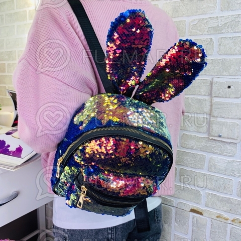 Рюкзак с ушами зайца в блестящий пайетках меняет цвет Хамелеон-Синий