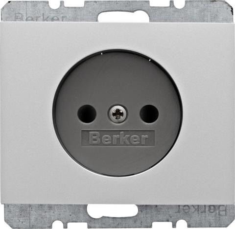 Розетка 2К, 10/16 А 250 В без заземляющего контакта. Цвет Алюминий. Berker (Беркер). K.5. 6167157003. Цвет Алюминий. Berker (Беркер). K.5. 6167157003