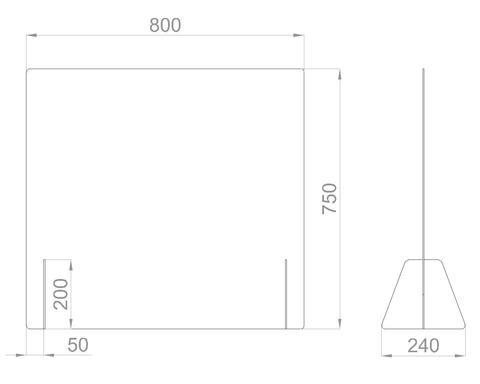 Настольный экран Ш.800 мм, В. 600/750 мм