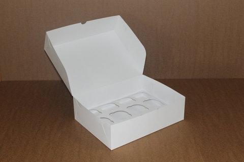 Коробка для 12 маффинов/капкейков 35*25*10см без окна, белая