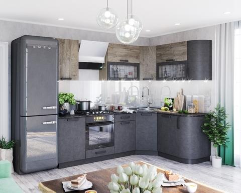 Кухня угловая КРАФТ-2  дуб эндгрейн / бетон темный / дуб сонома