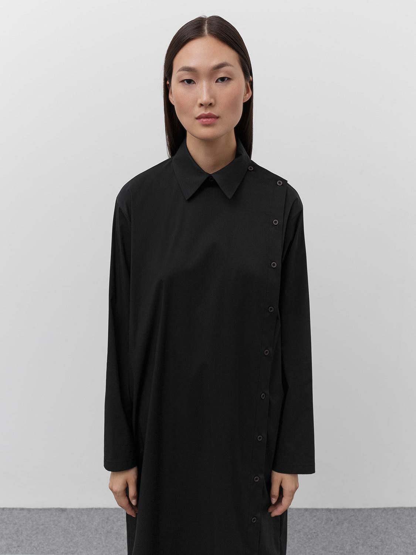 Рубашка Edie удлинённая с асимметричной застёжкой, Черный