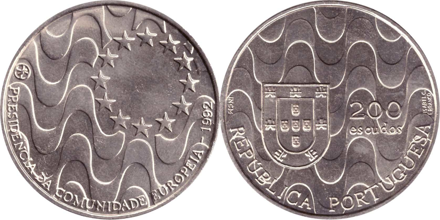 """200 эскудо 1992 года """"Председательство Португалии в ЕС"""""""