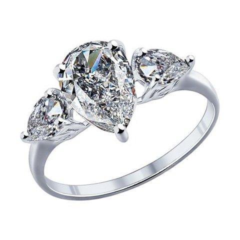94011767 - Кольцо из серебра с крупными фианитами