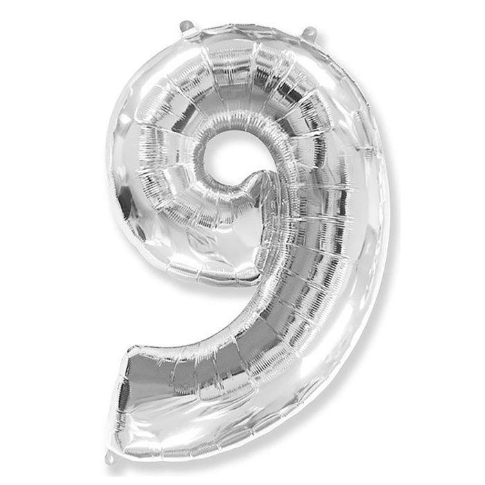 Фольгированный шар цифра 9 серебряная