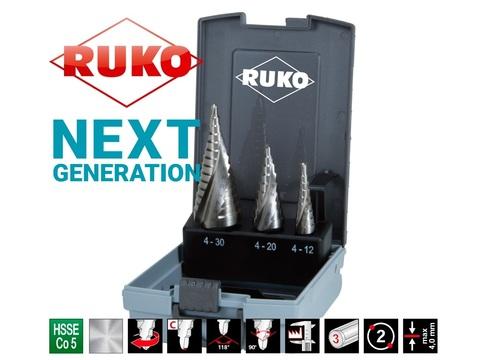 Набор ступенчатых сверл 4-12/4-20/4-30мм NextGeneration HSSE-Co5 Ruko 101026ERO