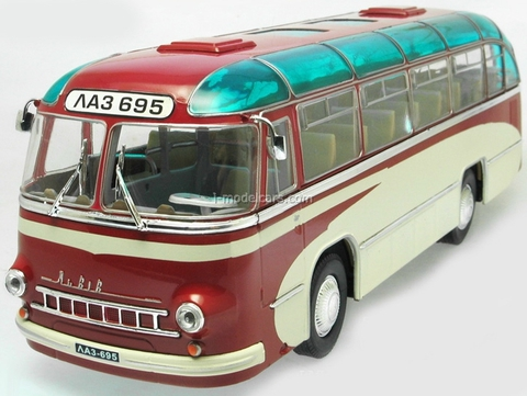 LAZ-695 Suburban bus Experimental red-white Ultra Models 1:43