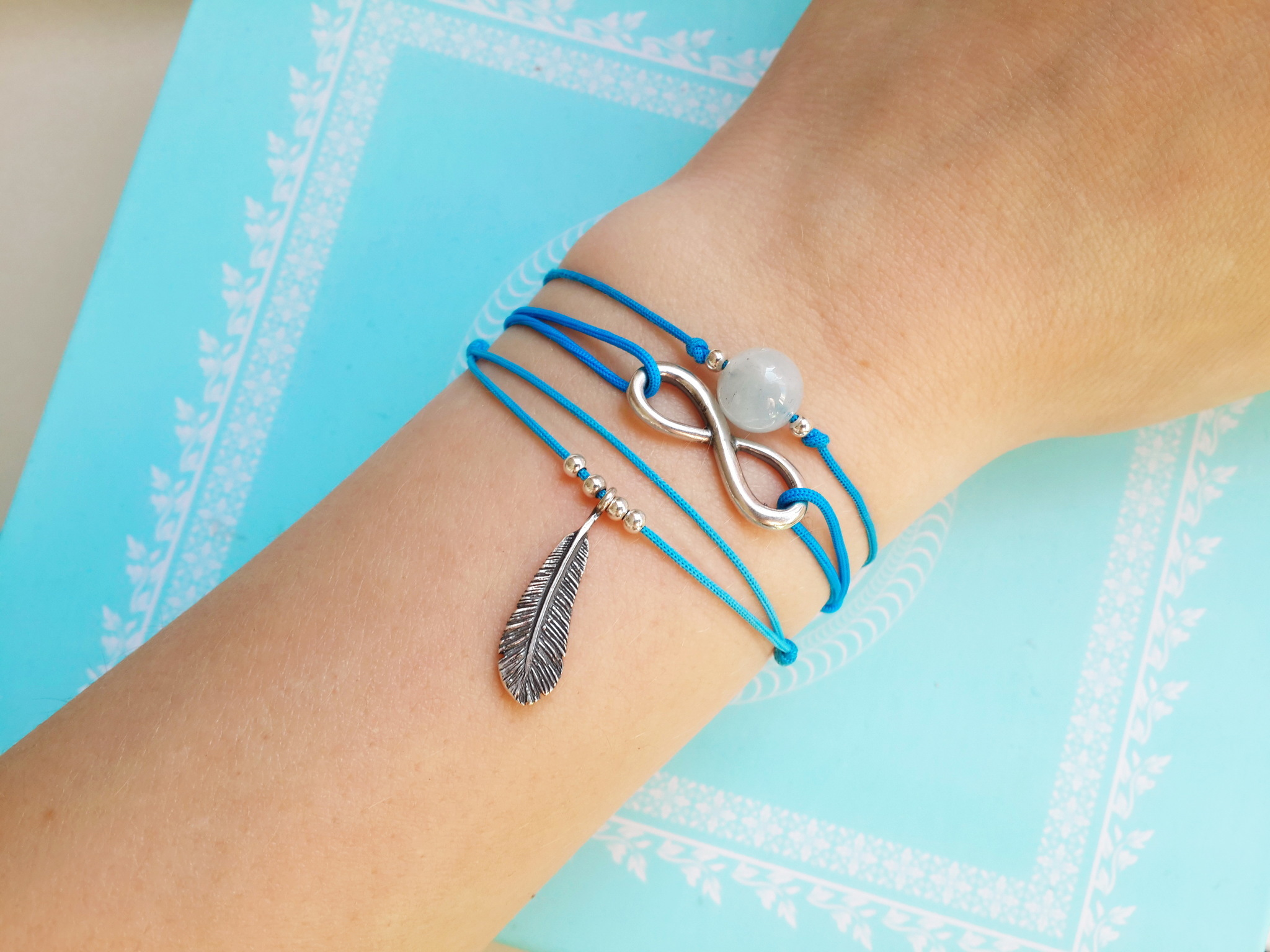 Feather bracelet, sterling silver