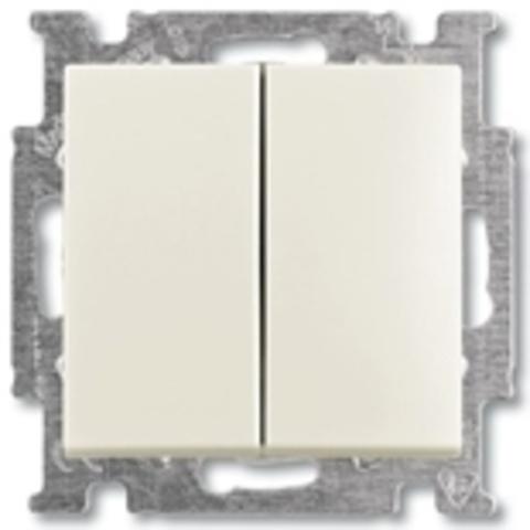 Выключатель двухклавишный. Цвет слоновая кость. ABB Basic 55. 1012-0-2148