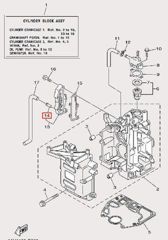 Штуцер для лодочного мотора F9,9 Sea-PRO (2-14)