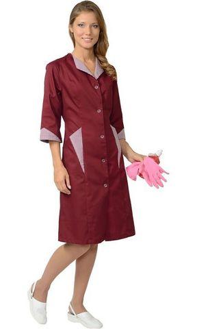 Халат женский бордовый с полоской