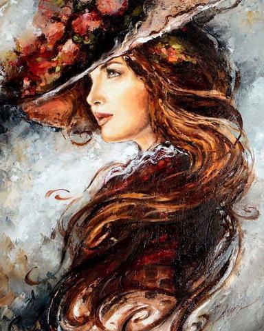 Алмазная Мозаика 30x40 Девушка в шляпе