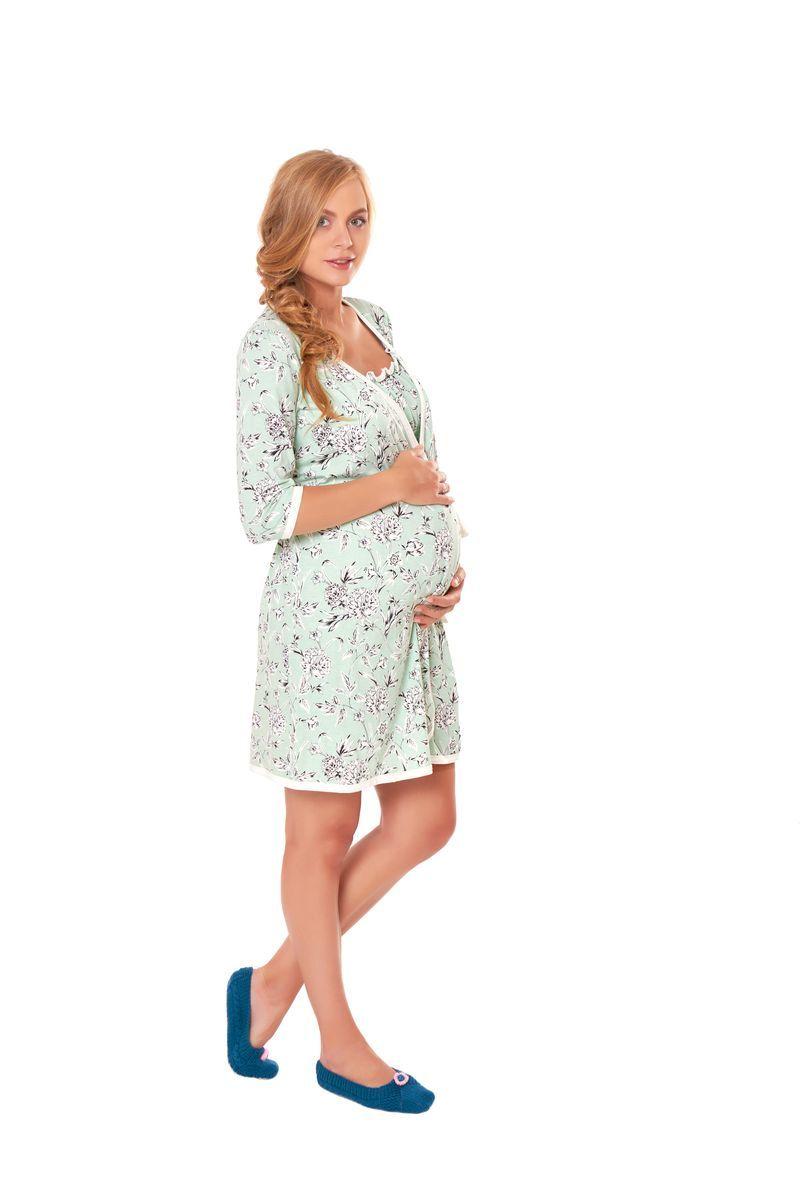 Комплект для беременных и кормящих с халатом и сорочкой 07678 зеленый