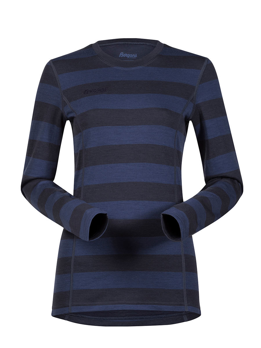 Bergans термобелье футболка 1865N Akeleie Lady Shirt Night Blue Striped