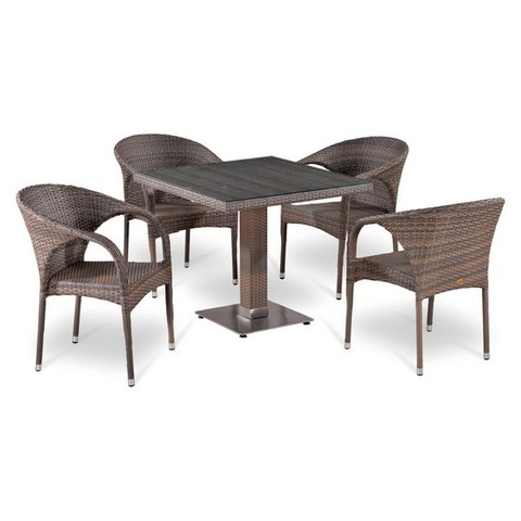 Обеденный комплект из искусственного ротанга с 4 креслами