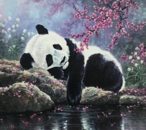 Алмазная Мозаика 30x40 Панда отдыхает