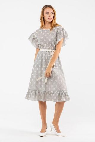 Фото хлопковое серое платье с вышивкой и поясом - Платье З450-128 (1)
