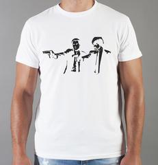 Футболка с принтом Криминальное чтиво, Квентин Тарантино (Pulp Fiction) белая 0015