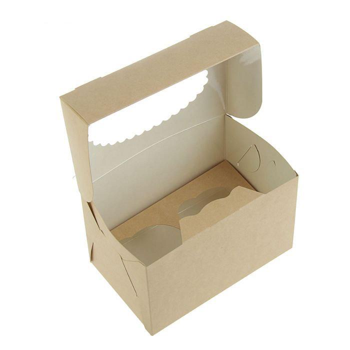 Коробка на 2 капкейка c окном