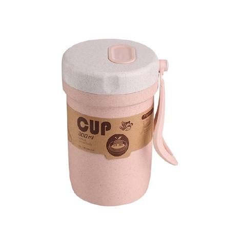 Ланчбокс из пшеничного волокна для супа, розовый